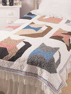 "From the website: ""Perfect for cat lovers! This easy to make granny square afghan is crocheted using worsted-weight yarn."""