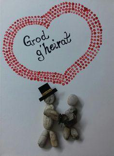 Geschenk zur Hochzeit, Leinwand mit Brautpaar aus Stein