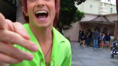 Peter Pan surprising a person at Disney. He is SO cute and adorable, I actually want this to happen to me!