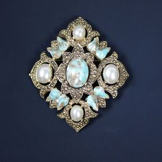 Vintage Sarah Coventry Remembrance Brooch Faux Turquoise and Pearl #SarahCoventry #Vintage
