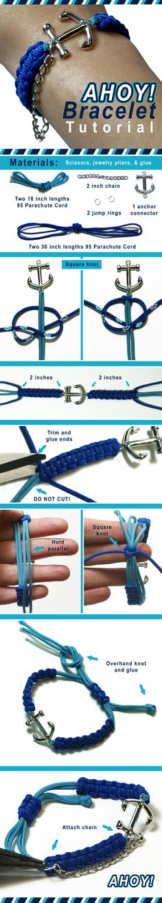 DIY Ahoy Sailor Nautical Bracelet Jewelry with Anchor Connector