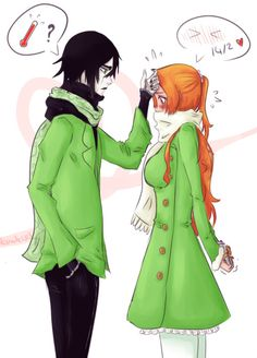 Orihime want's to give Ulquiorra his Valentine's Day gift, but she blushes so hard that Ulquiorra thinks she has temperature Hope you all had a ha. Bleach Anime, Bleach Fanart, Ulquiorra And Orihime, Bleach Orihime, Valentines Anime, Happy Valentines Day, Bleach Characters, Anime Characters, Anime Nerd