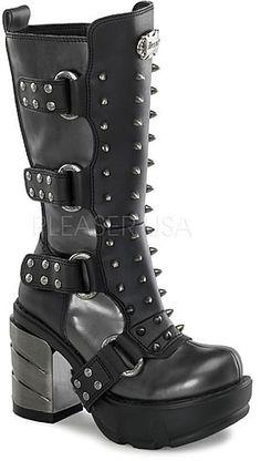 Sinister-202 Demonia Shoes Chrome Heel