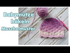 Babymütze häkeln Muschelmuster - YouTube Crochet Shell Pattern, Crochet Baby Hat Patterns, Crochet Baby Hats, Baby Patterns, Knitting Patterns Free, Baby Knitting, Knitted Hats, Easy Knit Hat, Knitting For Beginners