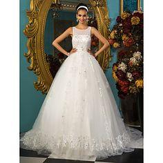 Princess Ball Gown Scoop  Court Train Chapel Train Tulle Wedding Dress – USD $ 346.49