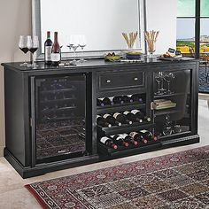 Enrich your home with the addition of the Wine Enthusiast Siena Wine Credenza. Handcrafted in Italy and perfect for any wine aficionado, this handsome credenza offers 3 rolling shelves, 2 storage areas, space for a wine refrigerator, and more. Wine Bar Furniture, Cabinet Furniture, Furniture Design, Buffet Cabinet, Luxury Furniture, China Cabinet, Modern Furniture, Best Wine Refrigerator, Wine Fridge