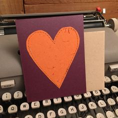Heart Card Valentine Handmade Paper by deadcatcreations on Etsy