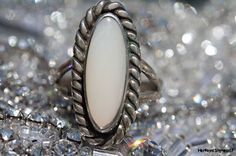 Vintage 925 Sterling Silver Southwestern Signed Dale Anderson Genuine Mother of Pearl Ring