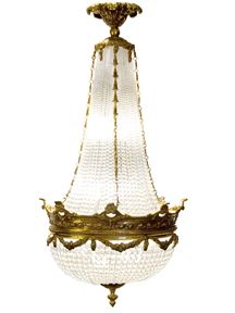 French Empire Style Bronze Crystal Basket Chandelier | Estate Chandeliers & Lighting | Scudder's Antiques