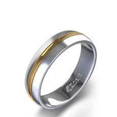 Grooved Two Tone Wedding Band in 14k White & Yellow Gold