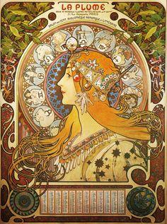 Alfons Mucha - Panneaux décoratifs : Zodiaque pour La Plume - 1897