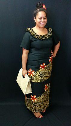 Stunning black and gold puletasi with pandanus handbag.
