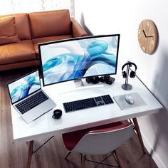 Digging this desk space. What yall think? Minimal at its finest! Home Office Setup, Home Office Design, Office Decor, House Design, Office Designs, Office Ideas, Gaming Computer Desk, Gaming Room Setup, White Desk Setup