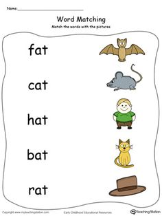 **FREE** AT Word Family Picture and Word Match in Color Worksheet.Topics: Word Families, Reading, and Phonics. Phonics Words, Phonics Worksheets, Phonics Activities, Cvc Words, Phonics Chart, Preschool Phonics, Reading Worksheets, Kindergarten Worksheets, Learning English Is Fun