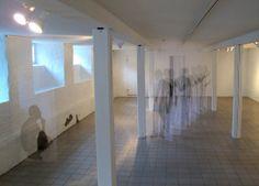 Pia Männikkö, Déjà Vu, 2011, Naantali Taidehuone gallery / Tulle fabric and ink #2