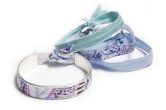 Silver Painted Paisley   Narrow Hair Tie Bracelet