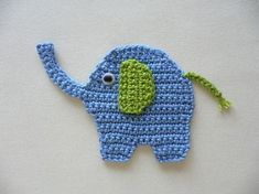 Elefant - Häkelapplikation-These would make great magnets for Makenzie. Crochet Motifs, Crochet Flower Patterns, Crochet Art, Applique Patterns, Cute Crochet, Crochet For Kids, Crochet Animals, Crochet Crafts, Crochet Flowers