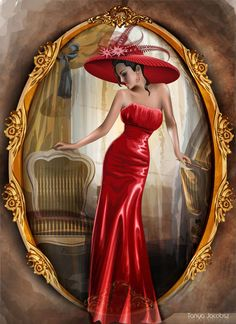 Created in Adobe Illustrator Pen tool ......... Lady in red hat * Portrait of lady in red hat… The line of lips in scarlet red The veil of mysteries indeed, In her profile, and silhouette, Portrait...