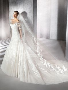 A-Line Sweetheart with Illusion Off Shoulder Sleeves Wedding Dresses PNLK0045