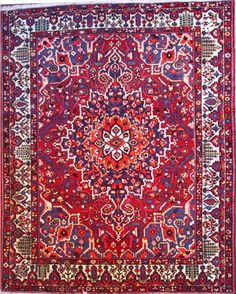 662 Bakhtiari rugs - This Traditional  rug is approx imately 10 feet 3 inch x 12 feet 9 inch  in size and made of  Wool . This Bakhtiari  rug weave is Hand Knotted  and made in Persian . This Bakhtiari  rug is Rectangular  in shape and Red,  Ivory in color.