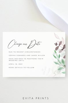 Wedding Change the Date, Wedding Date Postpone Announcement, Change Our Date, Simple Modern Wedding Postpone, Printable Change the Date Card, Save Our New Date Bachelorette Party Invitations, Bridal Shower Invitations, As You Like, Announcement, Stationery, Dating, Printable, Change, Templates