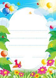 Papier à lettres gratuit à imprimer, une envolée de ballons dans la nature