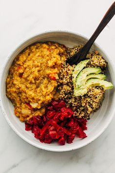 A tasty smoky red lentil stew served with a side of hearty quinoa - makes for a perfect easy vegan weeknight dinner with enough leftovers for lunch! Oil free.