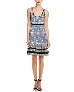 Shae Blue & White Ikat Print Dropped Waist Sweaterdress