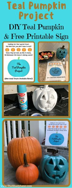 Make your own teal pumpkin & free printable sign to support the + 10 Awesome Candy Alternatives for Halloween! Halloween Signs, Holidays Halloween, Halloween Treats, Fall Halloween, Halloween Party, Teal Pumpkin Project, Candy Signs, Healthy Halloween, Diy Pumpkin