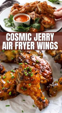 Cosmic Jerry Air Fryer Wings are the perfect appetizer, lunch, or dinner! They're made in the air fryer for the perfect crisp without all the oiI, then tossed in the most delicious sauce. #airfryerwings #chickenwings #chickenrecipes #airfryerrecipes #airfrying #airfryer Frozen Chicken Wings, Cooking Chicken Wings, Crispy Chicken Wings, Air Fryer Wings, Air Fryer Chicken Wings, Tomato Pesto Chicken, Sweets Recipes, Healthy Recipes, Angry Chicken