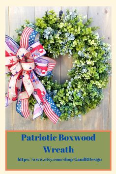 This patriotic bow is the perfect finishing touch to a beautiful boxwood wreath. And when the season is over switch it out for a fall bow. Find it in our Etsy shop! Wreath Bows, Diy Wreath, Patriotic Wreath, Patriotic Decorations, Military Wreath, Boxwood Wreath, Summer Wreath, Memorial Day, Floral Arrangements