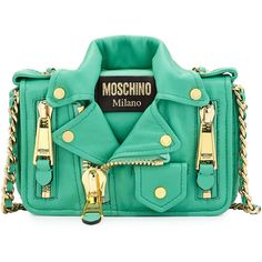 Moschino Moto Jacket Shoulder Bag (£1,160) ❤ liked on Polyvore featuring bags, handbags, shoulder bags, purses, moschino, borse, green, cross body handbags, chain shoulder bag and leather shoulder bag