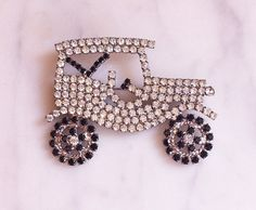 Vintage 60s 70s Rhinestone Car Pin / Antique Car Model-T Ford Brooch 1960s 1970s