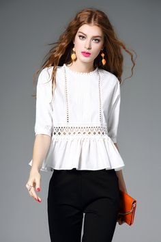 White Hollow Out Peplum Blouse
