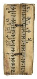 Incredible Norwegian runic calendar. Walrus or reindeer horn, fastened with leather. 15th century.