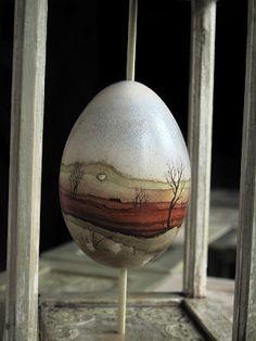 Martyn Tverdun minimalist landscape batik egg