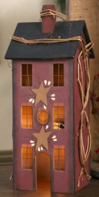 "BURGANDY PRIMITIVE HOUSE  Our burgandy primitive house lights up with a night light bulb that plugs in.  It has a tin stars and grapevine wrapped around it.  It measures 5""W x 13""H x 4""D.    Price:$24.99"