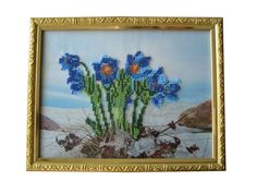 Embroidery picture Wall handing art Gift for her Embroidered with Beads picture Wall decor Gift for women Wall art Blue Gift ideas Seed bead (40.02 USD) by oilpaintingsIren
