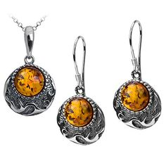 Sterling Silver Amber Round Earrings Pendant Set Chain 18 Inches -- You can get additional details at the image link.