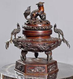 Incesario de origen japones,Meiji,siglo XIX Bronce patinado