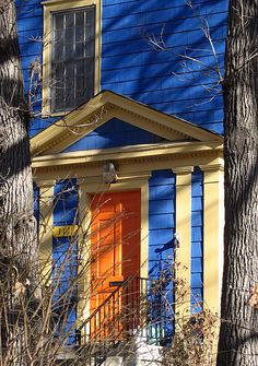 Image detail for -Blue house with an orange door in Minneapolis (from flickr-Mazda6)