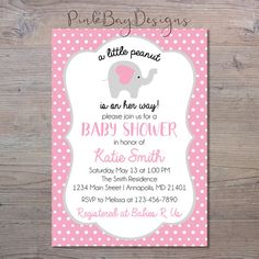 Hey, I found this really awesome Etsy listing at https://www.etsy.com/listing/497789132/girl-elephant-baby-shower-invitation-a