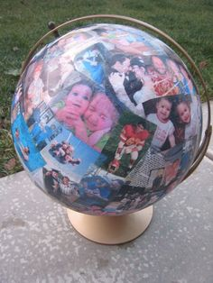 Picture Globes! Great idea for grandparents...all you need is pictures, a globe and glue :)