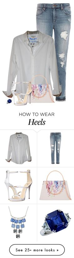 """White high heels!"" by detroitfashionista on Polyvore featuring Joe's Jeans, Burberry, Ted Baker, Giuseppe Zanotti, Kenneth Cole and whiteshoes"