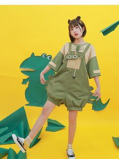 Kawaii Dragon Cat Two-tone Shirt and Overall by Mori Tribe Aesthetic Fashion, Aesthetic Clothes, Modern Fashion, Kawaii Fashion, Cute Fashion, Casual Outfits, Girl Outfits, Fashion Outfits, Looks Kawaii
