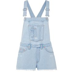 Off-White Distressed denim overalls ($725) ❤ liked on Polyvore featuring jumpsuits, light denim, evening jumpsuits, holiday jumpsuits, distressed overalls, special occasion jumpsuits and distressed denim overalls