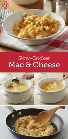 Creamy and crispy, all in one, this comforting slow-cooker mac and cheese has all the bases covered and then some. A perfect side dish to make and bring to potlucks or holiday gatherings--you'll be going home with an empty crock, guaranteed!