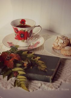 November Tea: The Charm of Home My Beautiful Daughter, Floral Theme, Colour Board, Red Poppies, Victorian Homes, Wonderful Things, Color Themes, Red Green, Tea Time