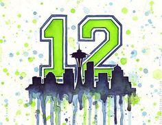 Seattle Seahawks 12th Man - Watercolor Painting - Giclee Art Print - GO HAWKS!