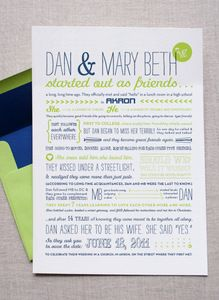 """screen printed and designed like a magazine """"fold-in,"""" so that when pulled from the envelope you see the brief version of their wedding details, and when opened you get a poster version that describes how they came to be."""